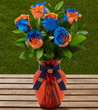 The FTD® Syracuse University® Orange® Rose Bouquet - 6 Stems - VASE INCLUDED