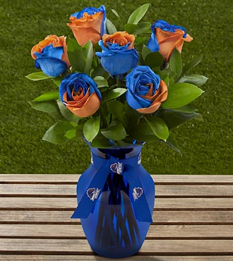 The FTD&reg; Boise State University&trade; Broncos&trade; Rose Bouquet - 6 Stems - VASE INCLUDED