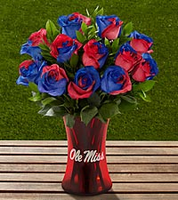 The FTD® University of Mississippi® Rebels™ Rose Bouquet - 12 Stems - VASE INCLUDED