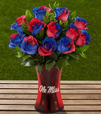 The FTD&reg; University of Mississippi&reg; Rebels&trade; Rose Bouquet - 12 Stems - VASE INCLUDED