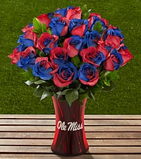 The FTD&reg; University of Mississippi&reg; Rebels&trade; Rose Bouquet - 24 Stems - VASE INCLUDED