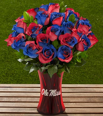 The FTD® University of Mississippi® Rebels™ Rose Bouquet - 24 Stems - VASE INCLUDED