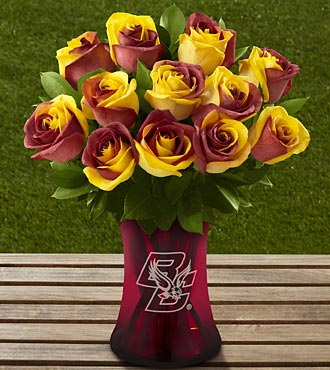 The FTD® Boston College Eagles® Rose Bouquet - 12 Stems - VASE INCLUDED