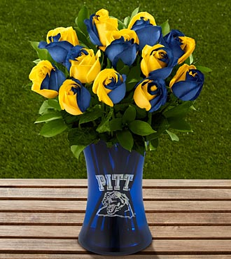 The FTD® University of Pittsburgh® Panthers™ Rose Bouquet - 12 stems - VASE INCLUDED