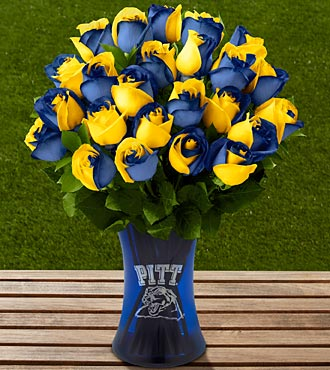 The FTD® University of Pittsburgh® Panthers™ Rose Bouquet - 24 stems - VASE INCLUDED