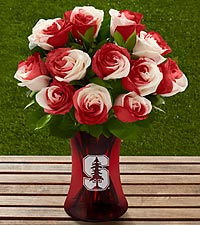 The FTD ® Stanford ® University Cardinal™ Rose Bouquet - 12 Stems - VASE INCLUDED