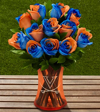 The FTD® University of Virginia® Cavaliers® Rose Bouquet - 6 Stems - VASE INCLUDED