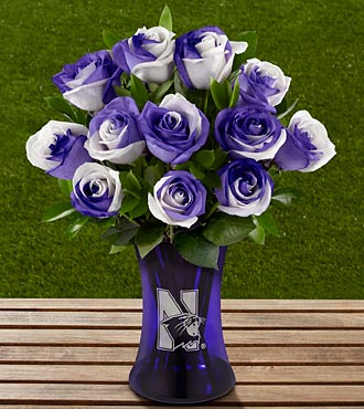 The FTD&reg; Northwestern University&reg; Wildcats&trade; Rose Bouquet - 12 Stems - VASE INCLUDED