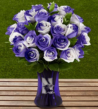 The FTD® Northwestern University® Wildcats™ Rose Bouquet - 24 Stems - VASE INCLUDED