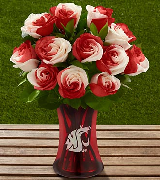 The FTD® Washington State University® Cougars™ Rose Bouquet - 12 Stems - VASE INCLUDED