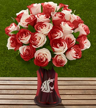 The FTD&reg; Washington State University&reg; Cougars&trade; Rose Bouquet - 24 Stems - VASE INCLUDED