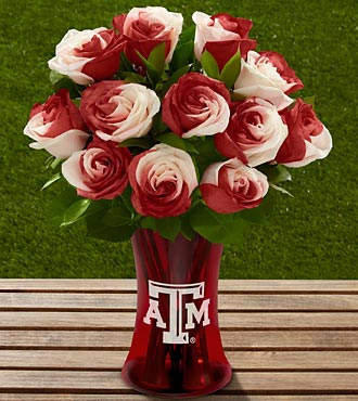 The FTD® Texas A&M University® Aggies™ Rose Bouquet - 12 Stems - VASE INCLUDED