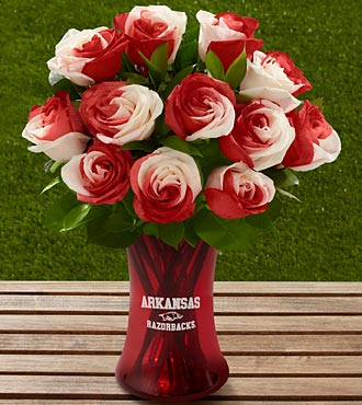 The FTD® University of Arkansas® Razorbacks® Rose Bouquet - 12 Stems - VASE INCLUDED