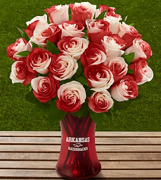 The FTD&reg; University of Arkansas&reg; Razorbacks&reg; Rose Bouquet - 24 Stems - VASE INCLUDED