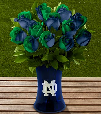 The FTD® Notre Dame® Fighting Irish™ Rose Bouquet - 12 Stems - VASE INCLUDED