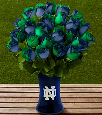 The FTD® Notre Dame® Fighting Irish™ Rose Bouquet - 24 Stems - VASE INCLUDED