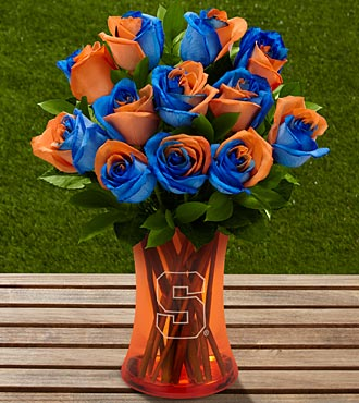 The FTD® Syracuse University® Orange® Rose Bouquet - 12 Stems - VASE INCLUDED