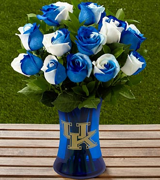 The FTD&reg; University of Kentucky&reg; Wildcats&reg; Rose Bouquet - 12 Stems - VASE INCLUDED