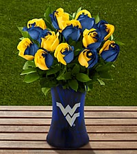 The FTD&reg; West Virginia University&reg; Mountaineers&reg; Rose Bouquet - 12 Stems - VASE INCLUDED