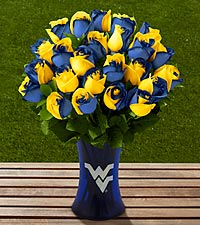 The FTD&reg; West Virginia University&reg; Mountaineers&reg; Rose Bouquet - 24 Stems - VASE INCLUDED