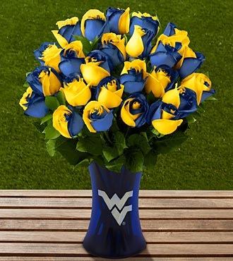 The FTD® West Virginia University® Mountaineers® Rose Bouquet - 24 Stems - VASE INCLUDED