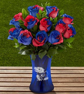 The FTD&reg; University of Kansas&reg; Jayhawks&reg; Rose Bouquet - 12 Stems - VASE INCLUDED