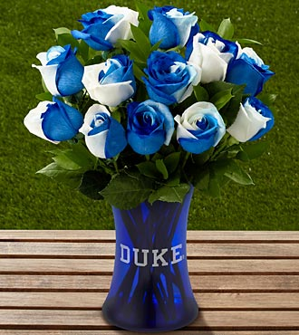 The FTD® Duke University® Blue Devils® Rose Bouquet - 12 Stems - VASE INCLUDED