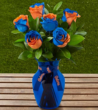 The FTD&reg; University of Florida&reg; Gators&reg; Rose Bouquet - 6 Stems - VASE INCLUDED