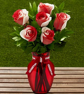 The FTD® University of Alabama® Crimson Tide® Rose Bouquet - 6 Stems - VASE INCLUDED