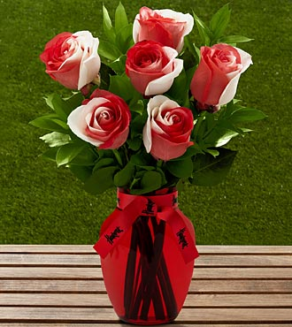The FTD® University of Nebraska® Huskers® Rose Bouquet - 6 Stems - VASE INCLUDED