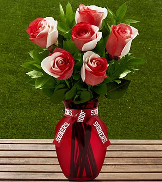 The FTD® University of Oklahoma® Sooners® Rose Bouquet - 6 Stems - VASE INCLUDED