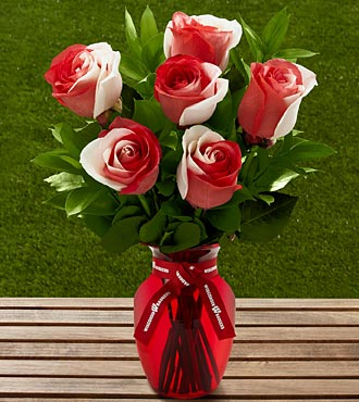 The FTD® University of Wisconsin Badgers™ Rose Bouquet - 6 Stems - VASE INCLUDED