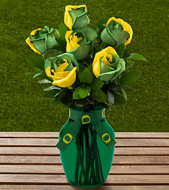 The FTD® University of Oregon® Ducks™ Rose Bouquet - 6 Stems - VASE INCLUDED