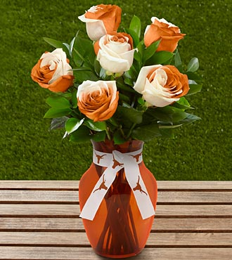 The FTD&reg; University of Texas&reg; Longhorns&reg; Rose Bouquet - 6 Stems - VASE INCLUDED