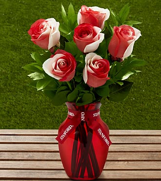 The FTD&reg; Stanford&reg; University Cardinal&reg; Rose Bouquet - 6 Stems - VASE INCLUDED