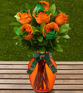 The FTD® University of Miami Hurricanes® Rose Bouquet - 6 Stems - VASE INCLUDED