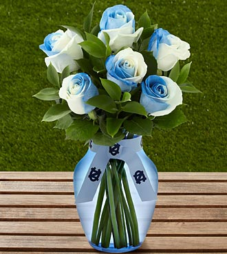 The FTD&reg; University of North Carolina&reg; Tar Heels&reg; Rose Bouquet - 6 Stems - VASE INCLUDED