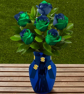 The FTD® Notre Dame® Fighting Irish™ Rose Bouquet - 6 Stems - VASE INCLUDED