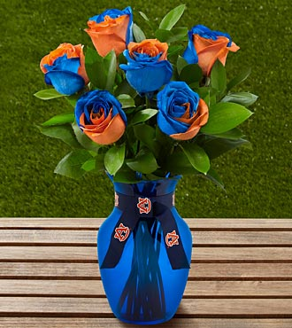 The FTD&reg; Auburn University&reg; Tigers&trade; Rose Bouquet - 6 Stems - VASE INCLUDED