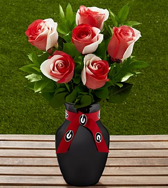 The FTD&reg; Georgia&reg; Bulldogs&reg; Rose Bouquet - 6 Stems - VASE INCLUDED