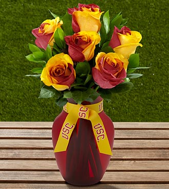 The FTD&reg; University of Southern California&reg; Trojans&reg; Rose Bouquet -6 Stems-VASE INCLUDED