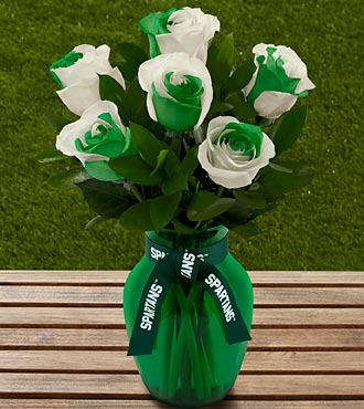 The FTD&reg; Michigan State University Spartans&reg; Rose Bouquet - 6 Stems - VASE INCLUDED