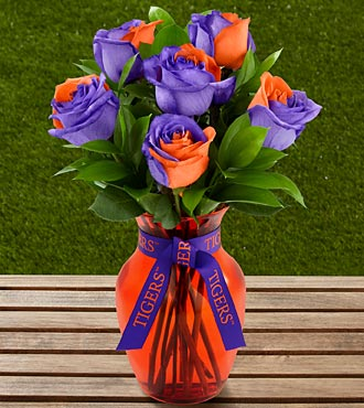 The FTD® Clemson University™ Tigers™ Rose Bouquet - 6 Stems - VASE INCLUDED