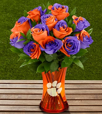 The FTD&reg; Clemson University&trade; Tigers&trade; Rose Bouquet - 12 Stems - VASE INCLUDED