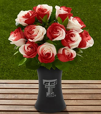 The FTD® Texas Tech University® Red Raiders™ Rose Bouquet - 12 Stems - VASE INCLUDED
