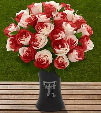 The FTD® Texas Tech University® Red Raiders™ Rose Bouquet - 24 Stems - VASE INCLUDED