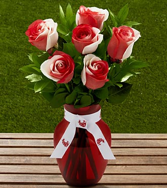 The FTD® Washington State University® Cougars™ Rose Bouquet - 6 Stems - VASE INCLUDED