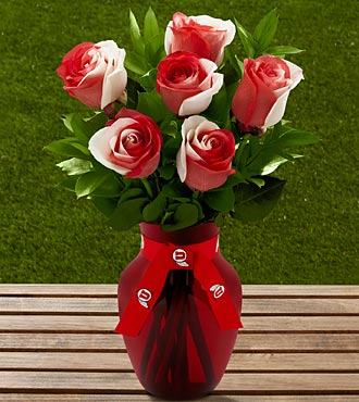 The FTD® University of Utah® Utes™ Rose Bouquet - 6 Stems - VASE INCLUDED
