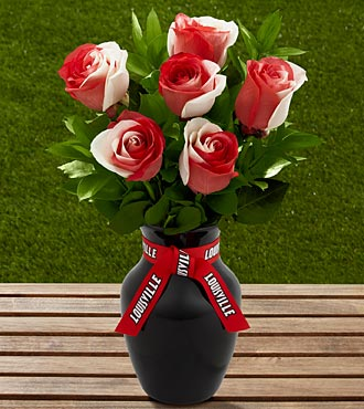 The FTD® University of Louisville® Cardinals™ Rose Bouquet - 6 Stems - VASE INCLUDED