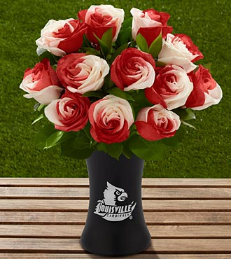 The FTD® University of Louisville® Cardinals™ Rose Bouquet - 12 Stems - VASE INCLUDED